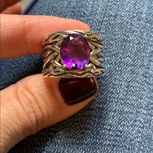Effy amethyst sterling silver ring